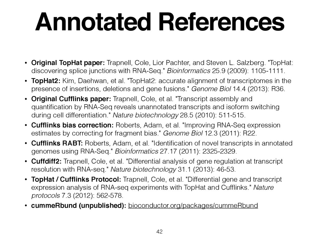 Annotated References • Original TopHat paper: T...