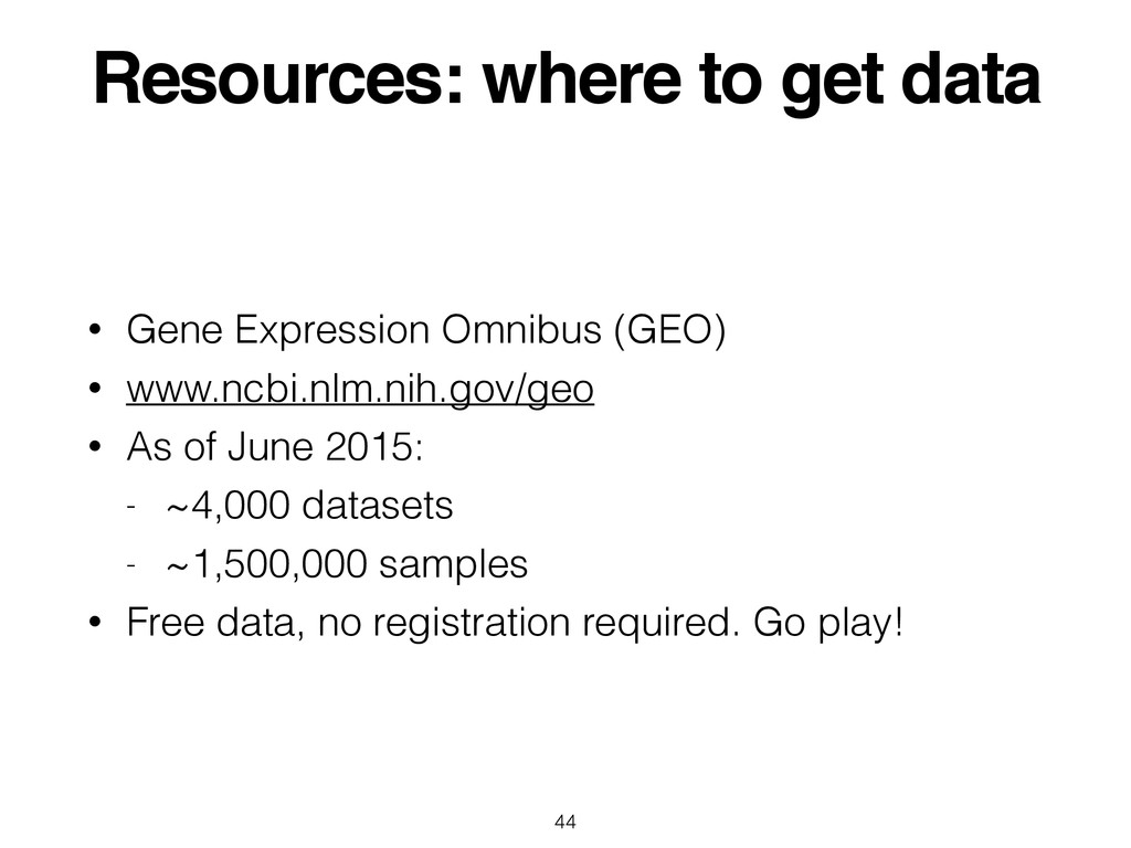 Resources: where to get data • Gene Expression ...