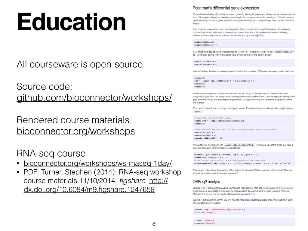 Education 8 All courseware is open-source ! Sou...