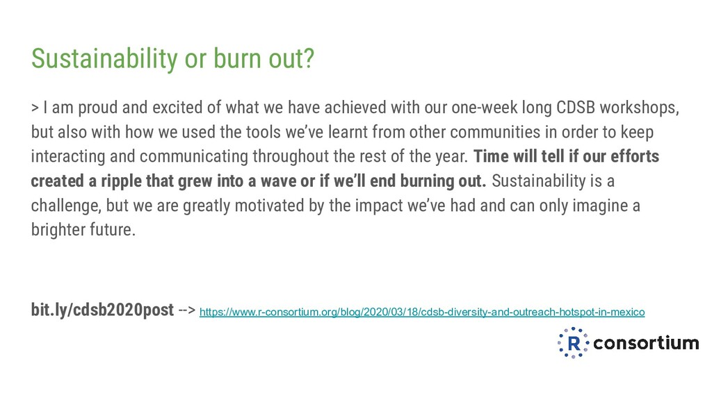 Sustainability or burn out? > I am proud and ex...