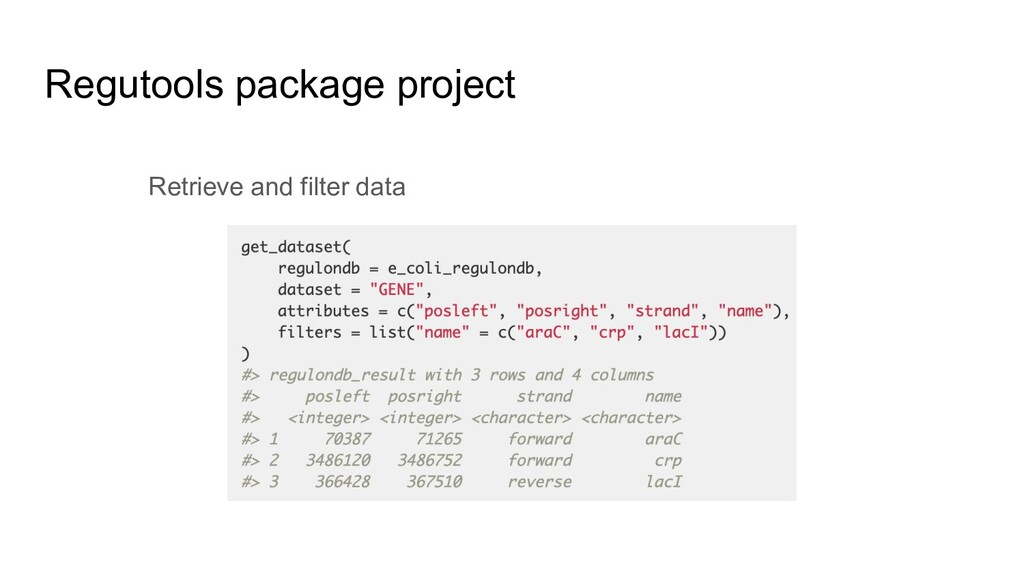 Regutools package project Retrieve and filter d...