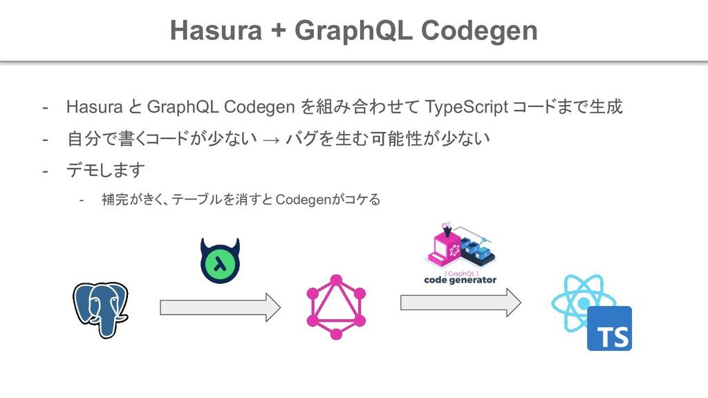Hasura + GraphQL Codegen - Hasura と GraphQL Cod...