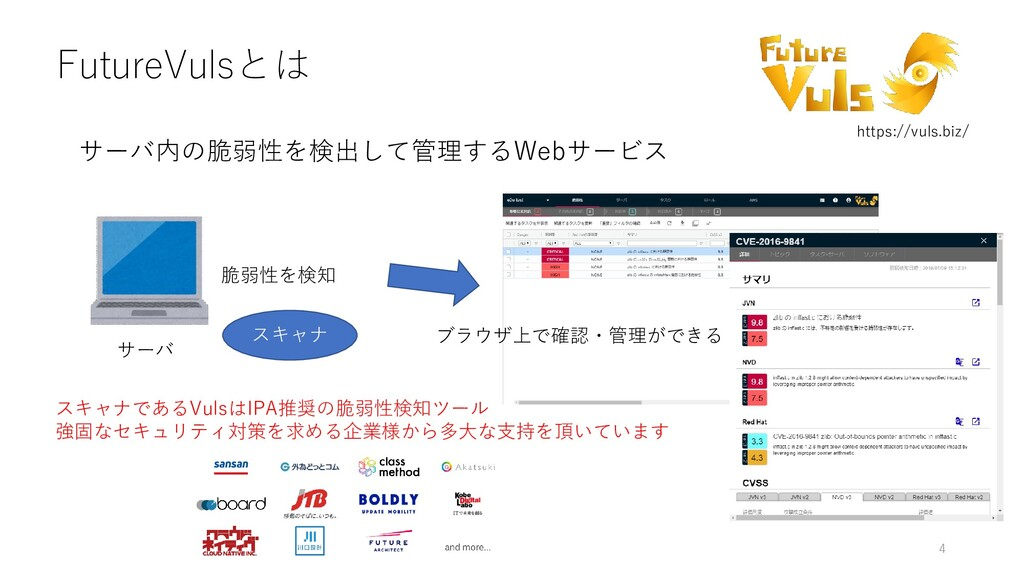 FutureVulsとは サーバ内の脆弱性を検出して管理するWebサービス 4 サーバ スキャ...