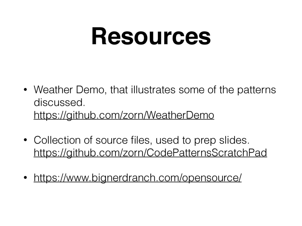 Resources • Weather Demo, that illustrates some...