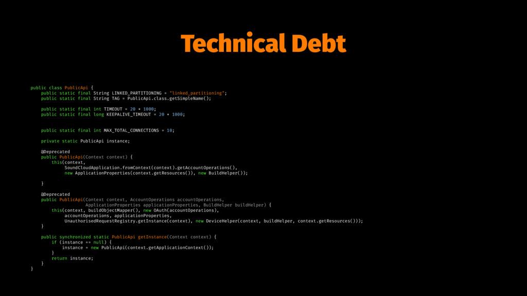 Technical Debt public class PublicApi { public ...
