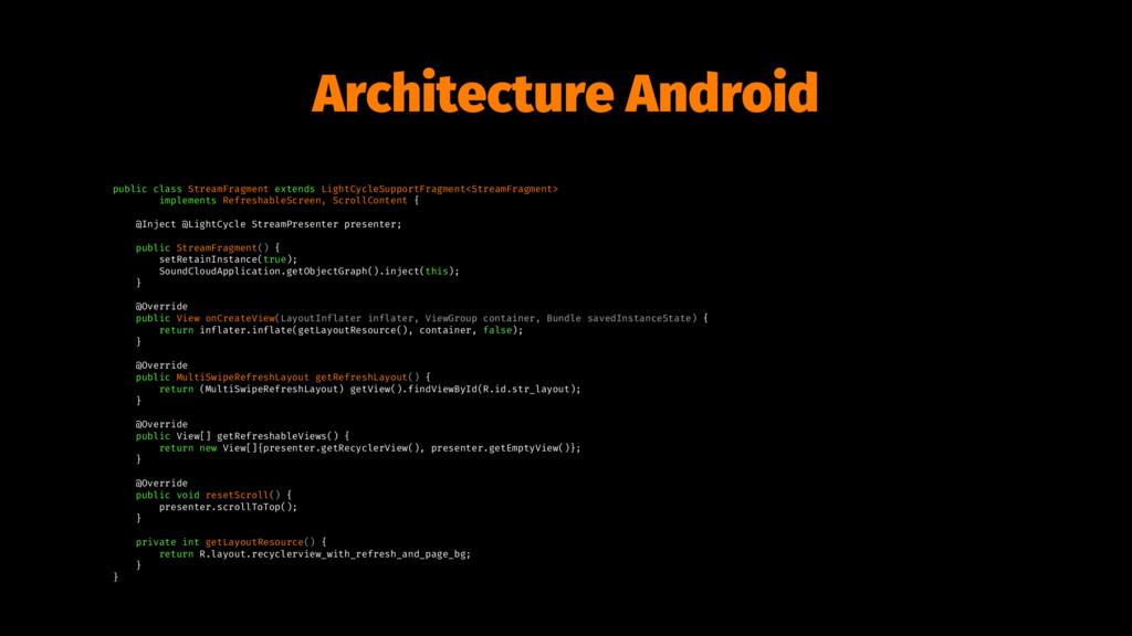 Architecture Android public class StreamFragmen...