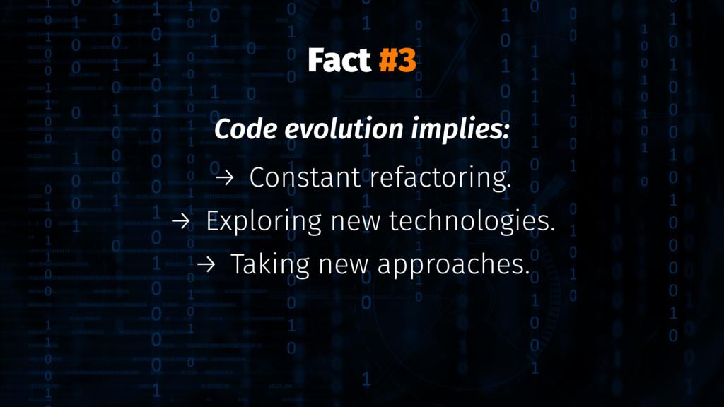 Fact #3 Code evolution implies: → Constant refa...