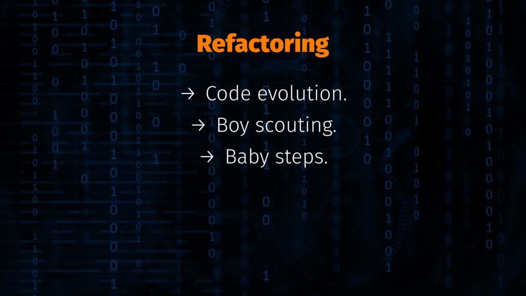 Refactoring → Code evolution. → Boy scouting. →...