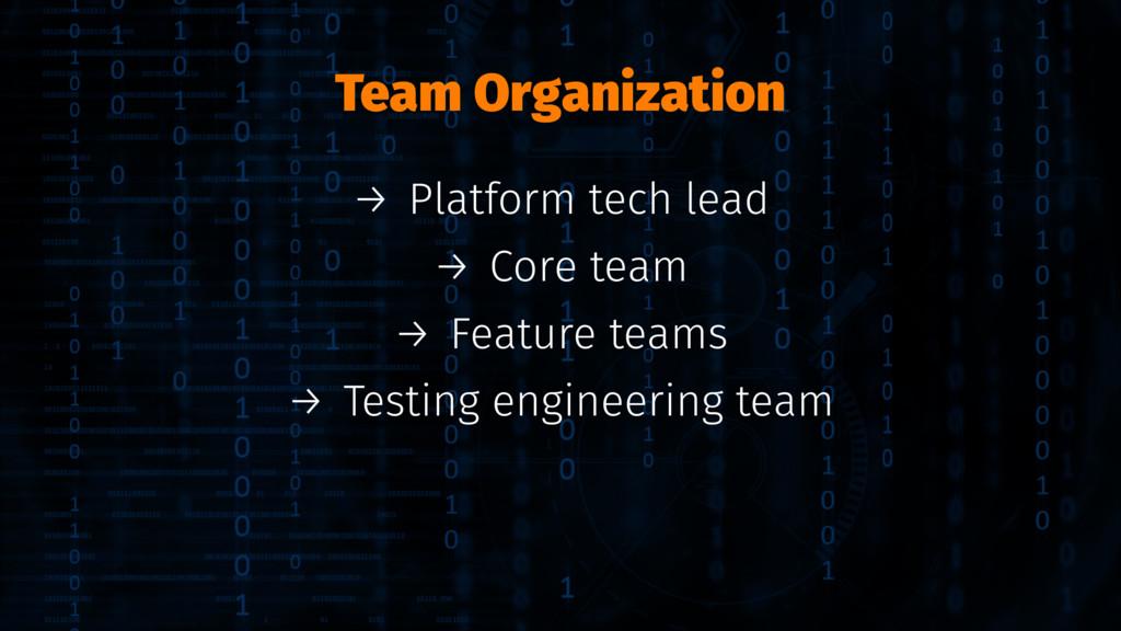 Team Organization → Platform tech lead → Core t...