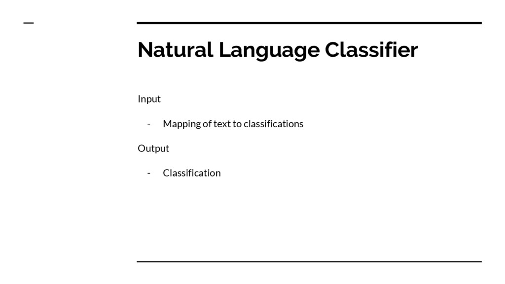 Natural Language Classifier Input - Mapping of ...