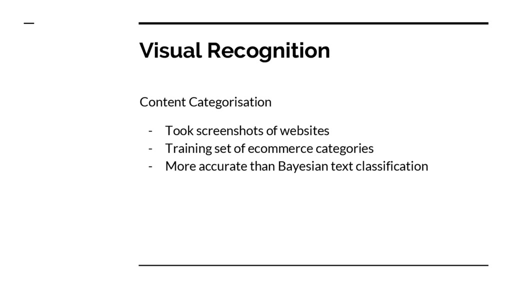 Visual Recognition Content Categorisation - Too...