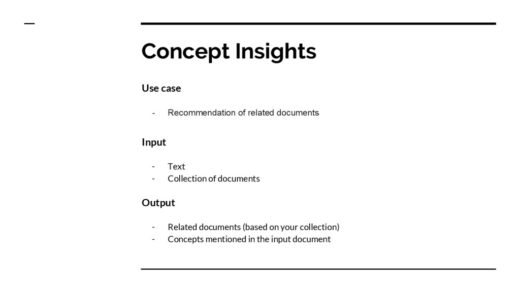 Concept Insights Use case - Recommendation of r...