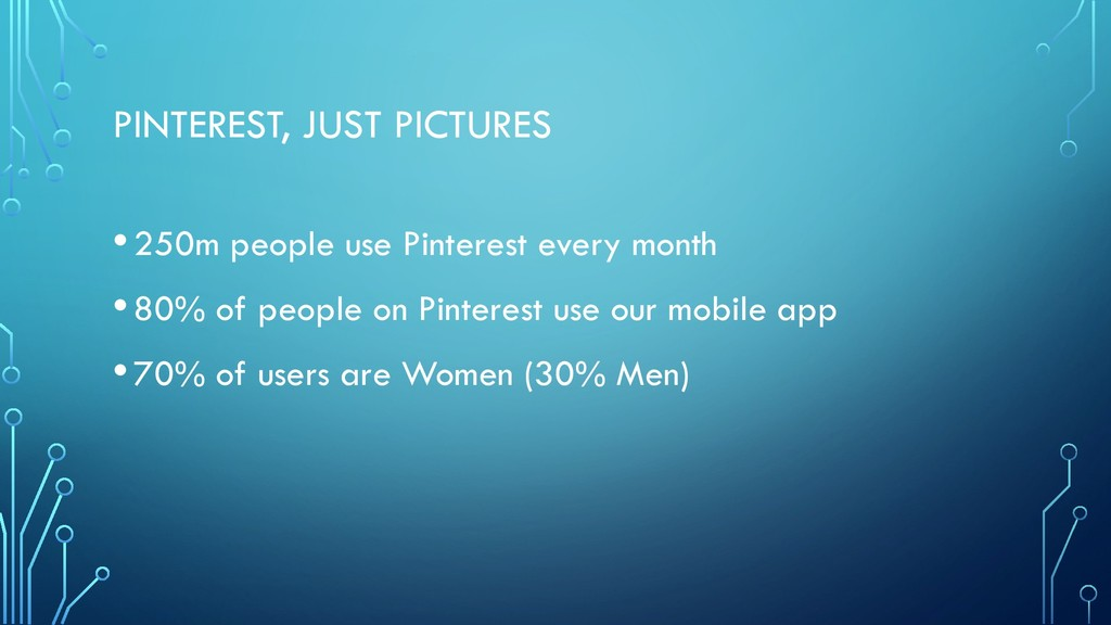 PINTEREST, JUST PICTURES •250m people use Pinte...