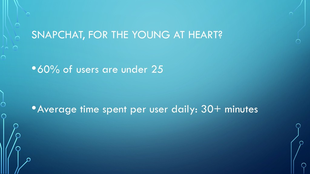 SNAPCHAT, FOR THE YOUNG AT HEART? •60% of users...