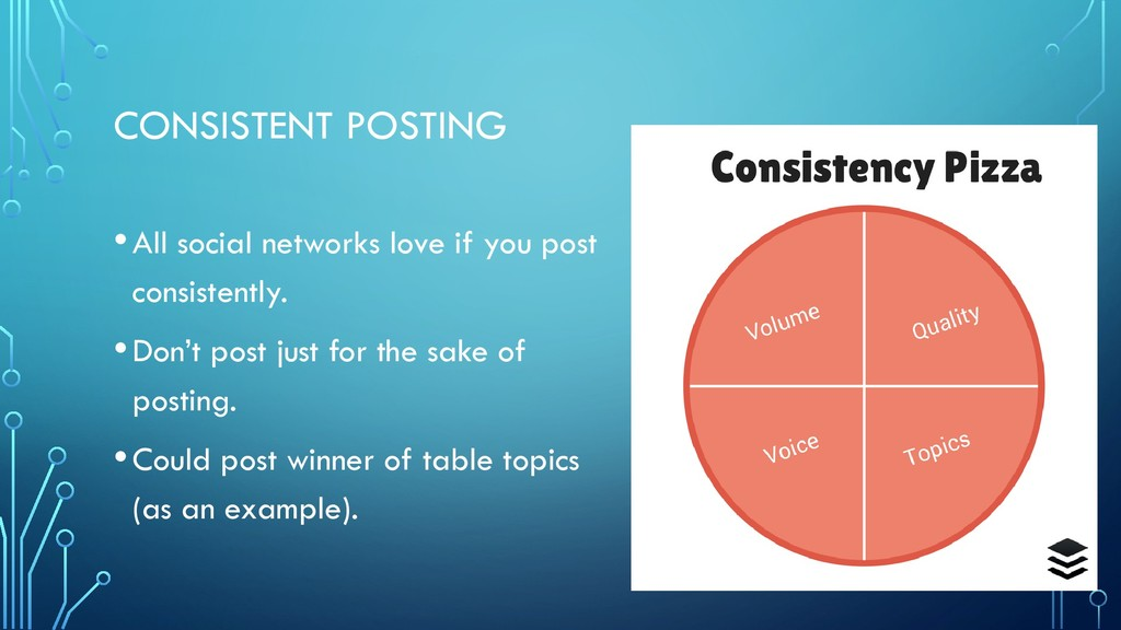 CONSISTENT POSTING •All social networks love if...