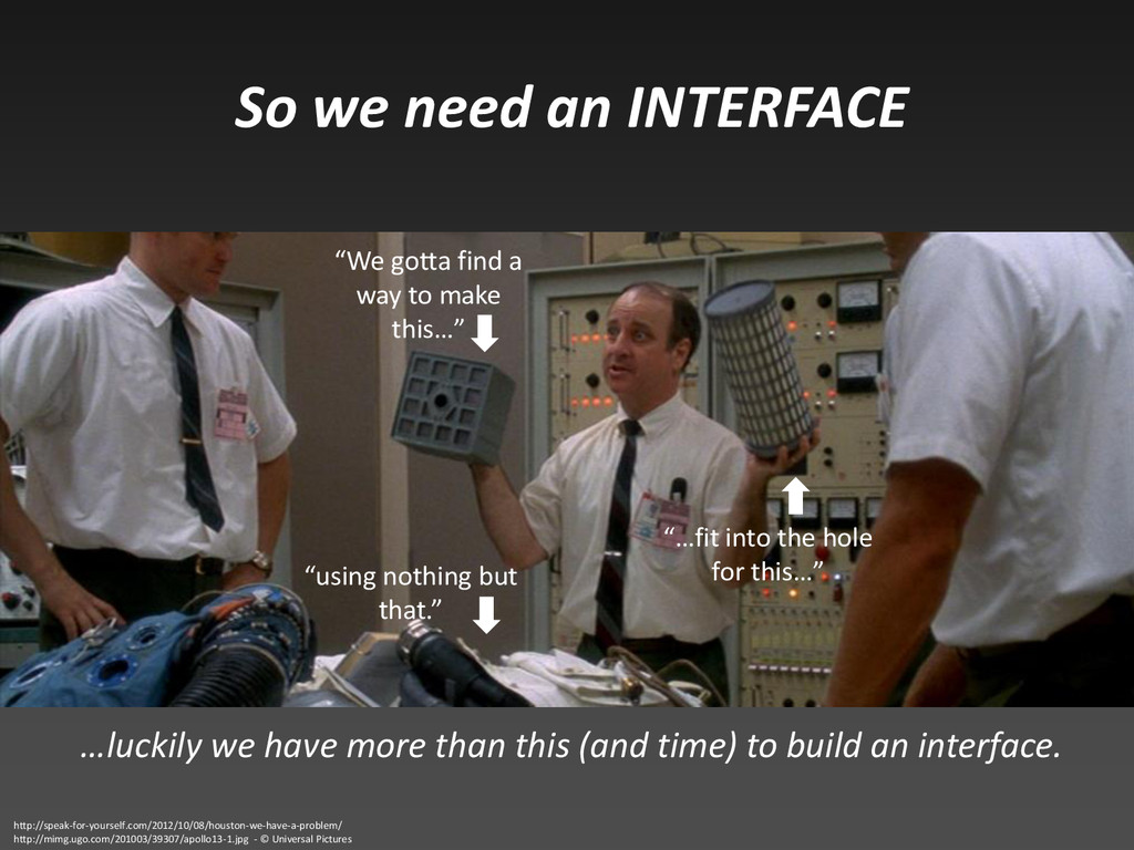 So we need an INTERFACE …luckily we have more t...