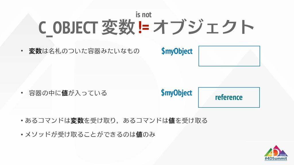 C_OBJECT 変数 変数 値 変数 値 値 $myObject $myObject re...