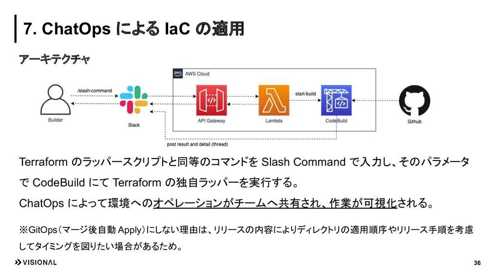 アーキテクチャ 36 7. ChatOps による IaC の適用 Terraform のラッ...