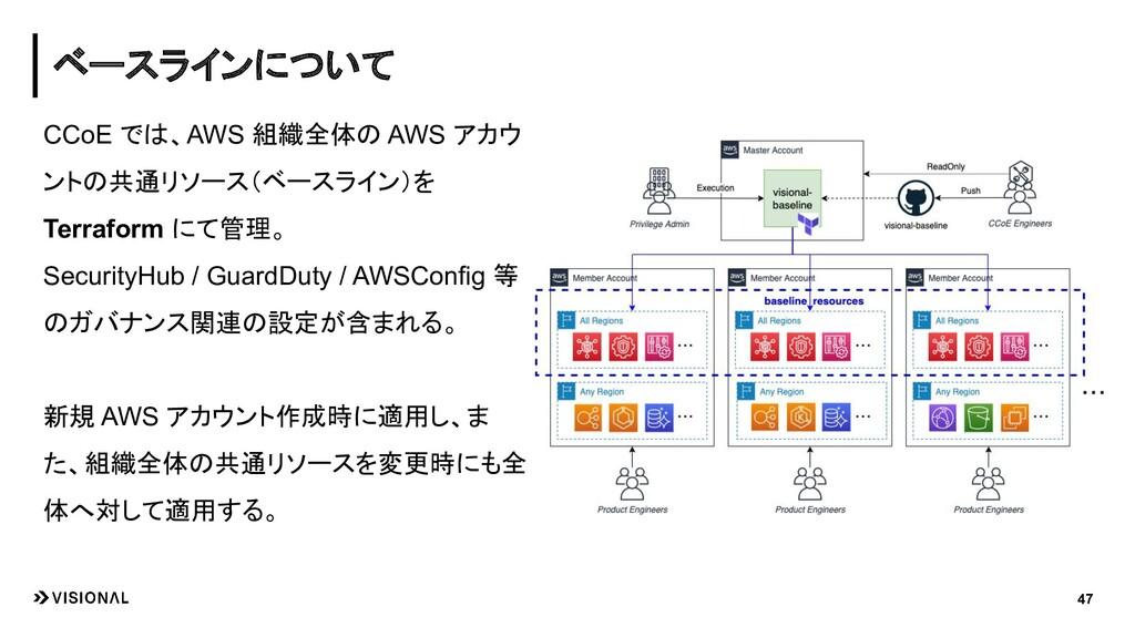 CCoE では、AWS 組織全体の AWS アカウ ントの共通リソース(ベースライン)を Te...