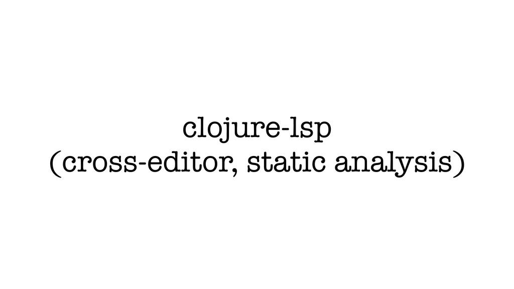 clojure-lsp (cross-editor, static analysis)