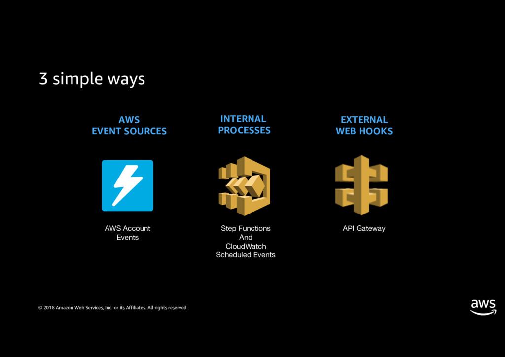 3 simple ways © 2018 Amazon Web Services, Inc. ...