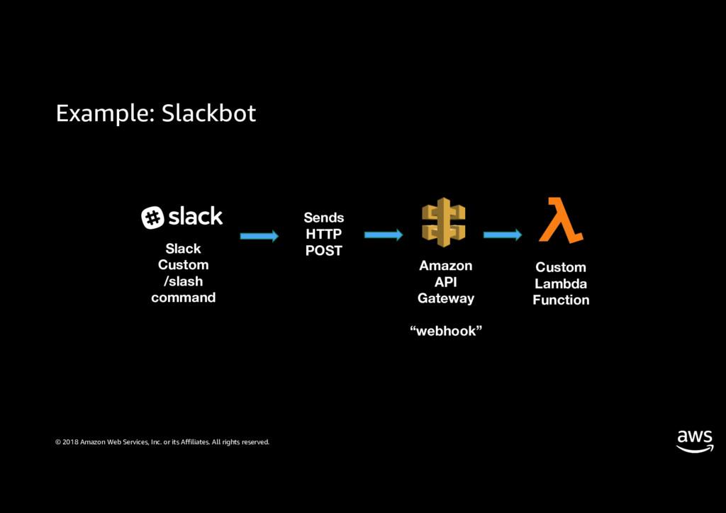 Example: Slackbot © 2018 Amazon Web Services, I...