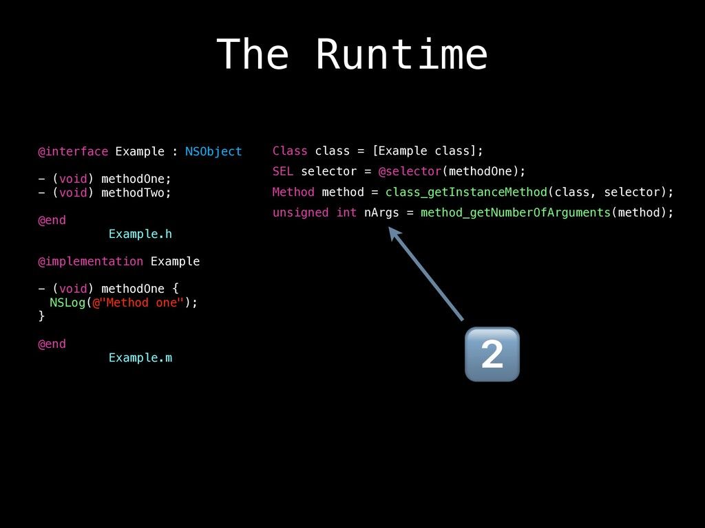 The Runtime Class class = [Example class]; SEL ...