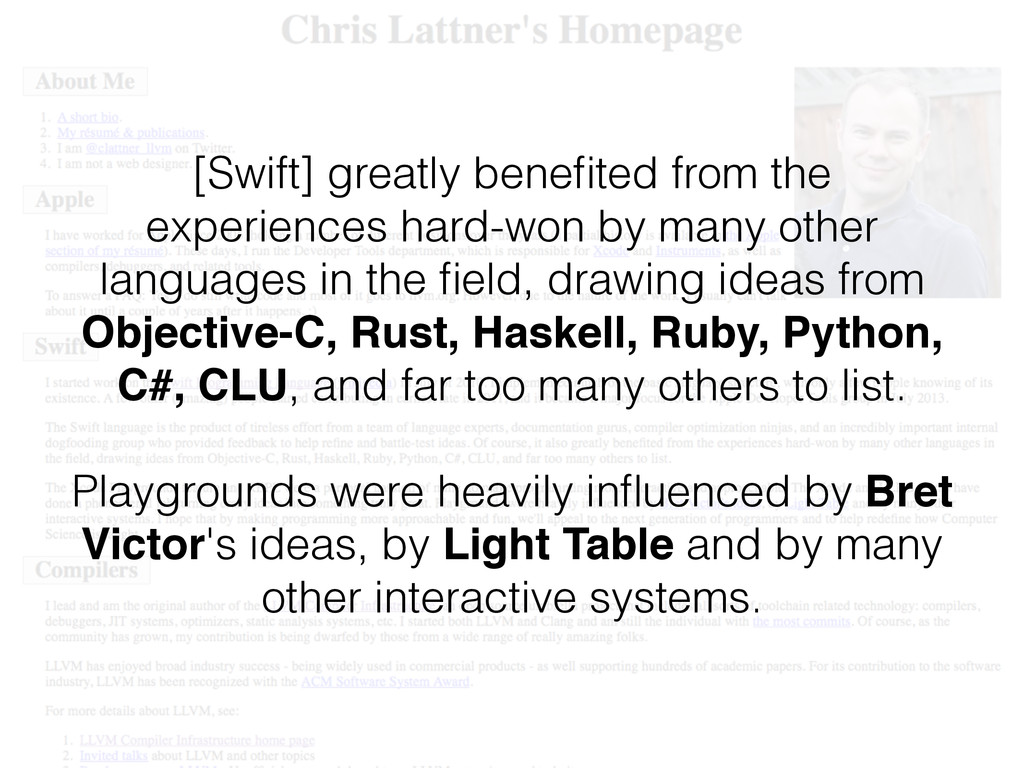 [Swift] greatly benefited from the experiences h...