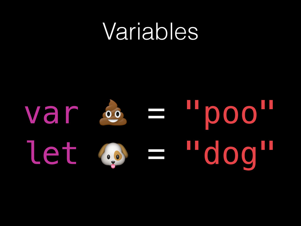 """Variables var = """"poo"""" let = """"dog"""" var  = """"poo"""" ..."""