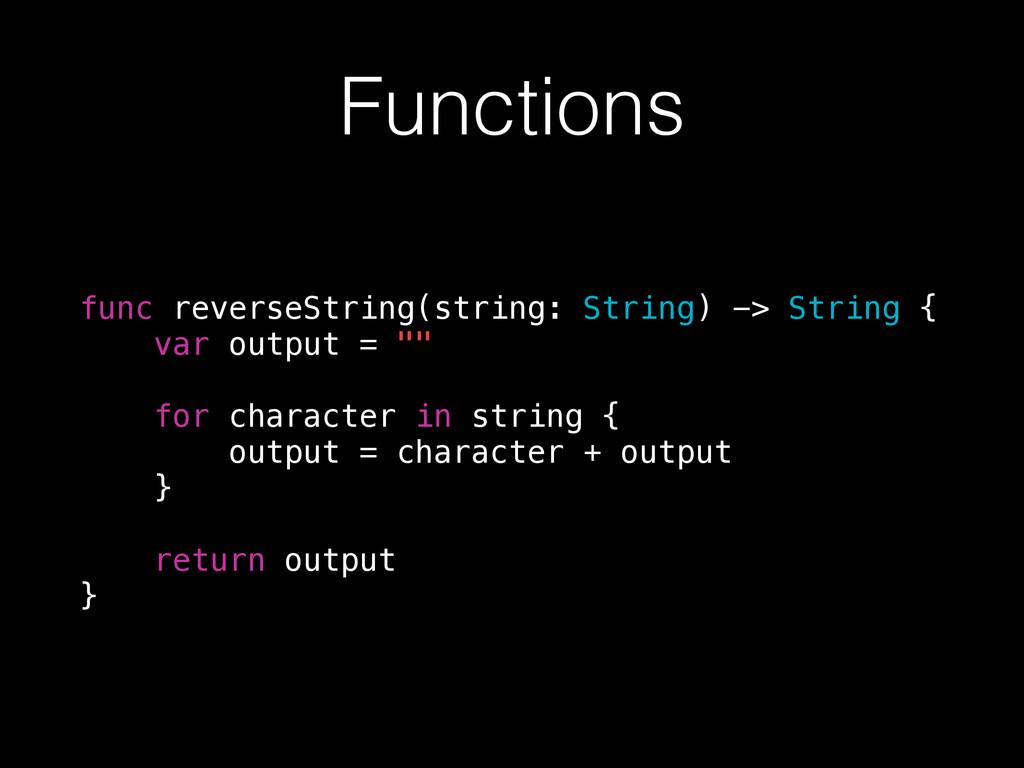 Functions func reverseString(string: String) ->...