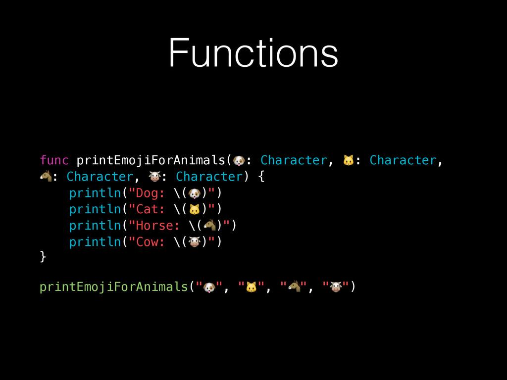 Functions func printEmojiForAnimals(: Character...