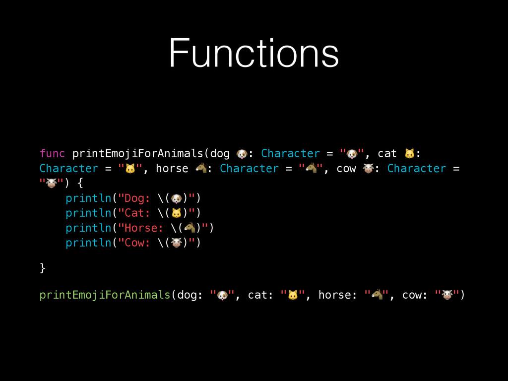 Functions func printEmojiForAnimals(dog : Chara...
