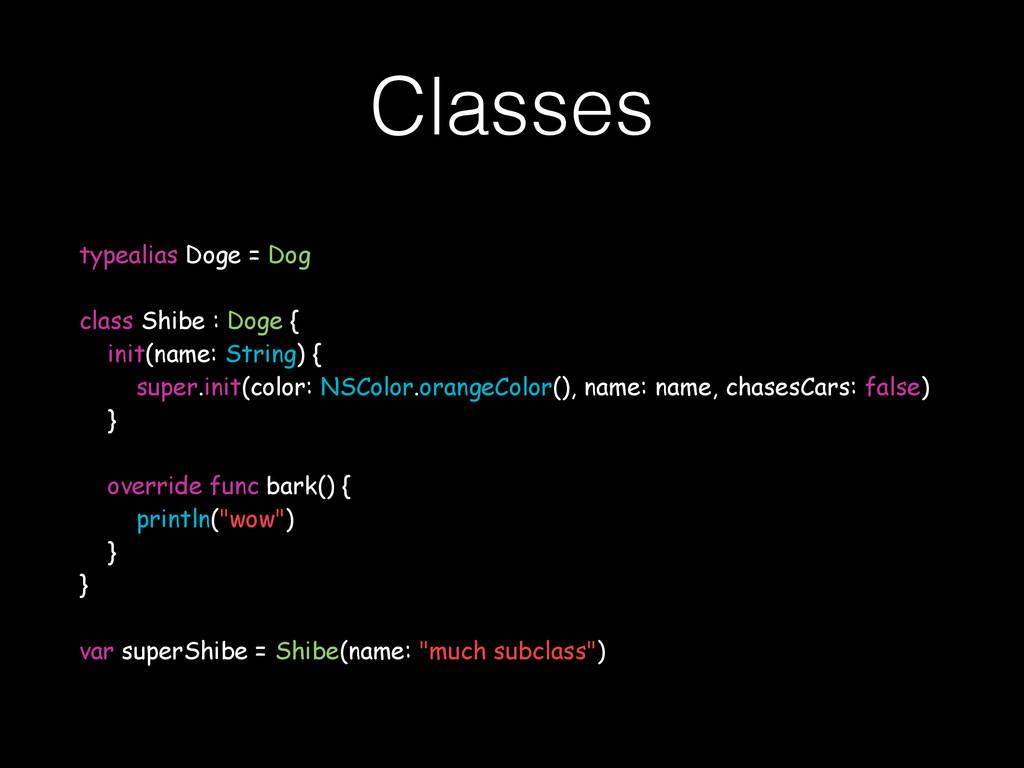 Classes typealias Doge = Dog class Shibe : Doge...