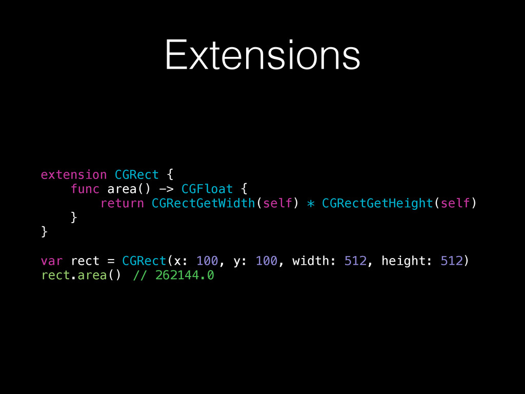 Extensions extension CGRect { func area() -> CG...