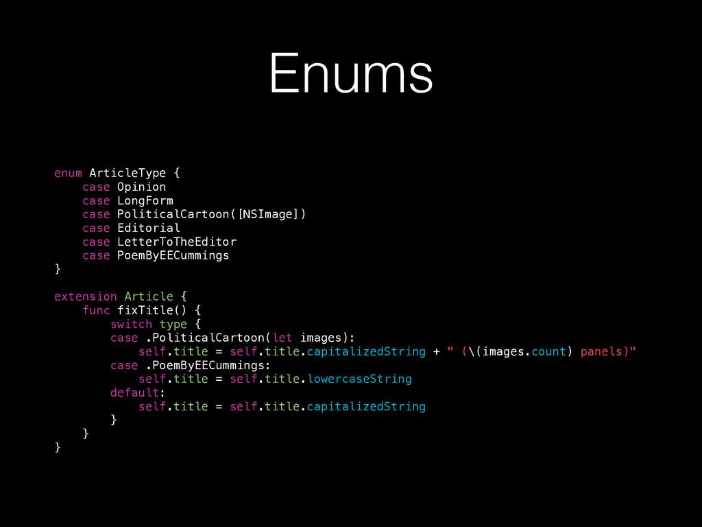 Enums enum ArticleType { case Opinion case Long...