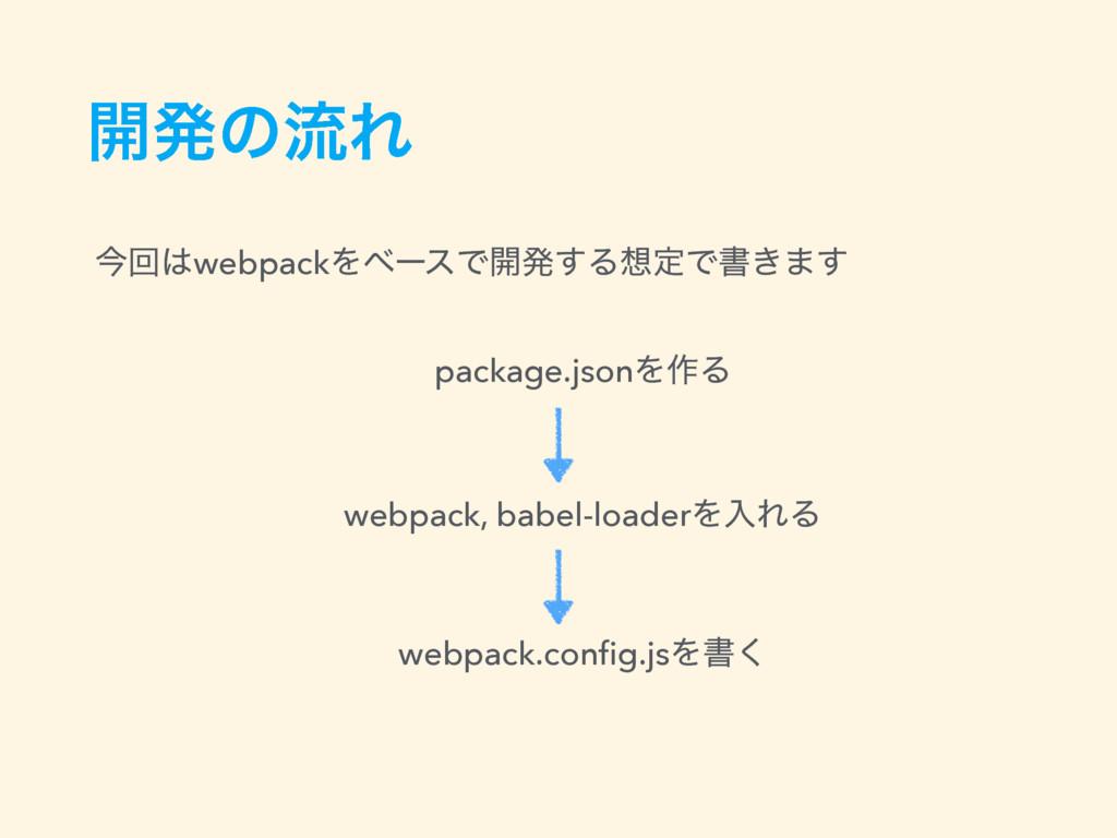 ։ൃͷྲྀΕ package.jsonΛ࡞Δ webpack, babel-loaderΛೖΕΔ...
