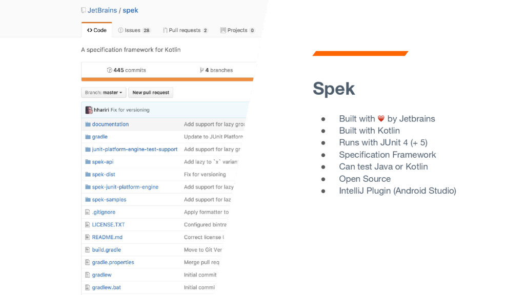 Spek ● Built with by Jetbrains ● Built with Kot...