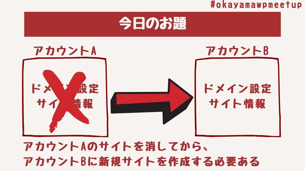 今⽇のお題 #okayamawpmeetup アカウントA ドメイン設定 サイト情報 アカウン...
