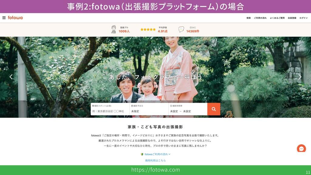 https://fotowa.com 11 事例2:fotowa(出張撮影プラットフォーム)の...