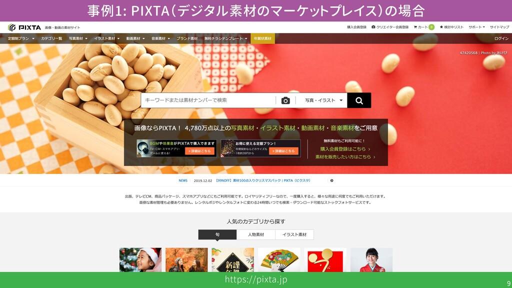 https://pixta.jp 9 事例1: PIXTA(デジタル素材のマーケットプレイス)...