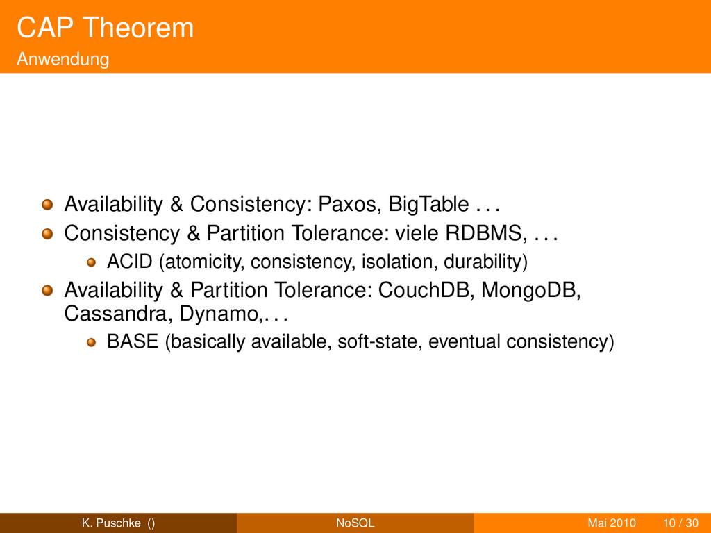 CAP Theorem Anwendung Availability & Consistenc...