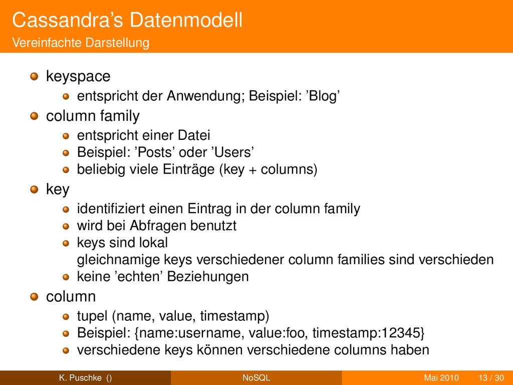 Cassandra's Datenmodell Vereinfachte Darstellun...