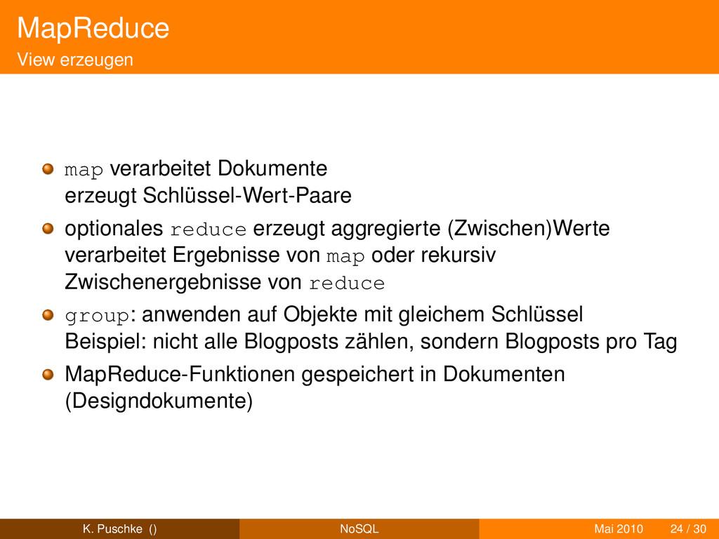 MapReduce View erzeugen map verarbeitet Dokumen...