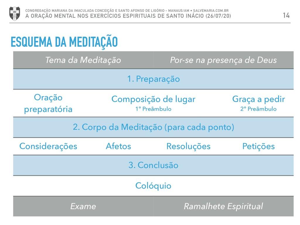ESQUEMA DA MEDITAÇÃO 14 CONGREGAÇÃO MARIANA DA ...