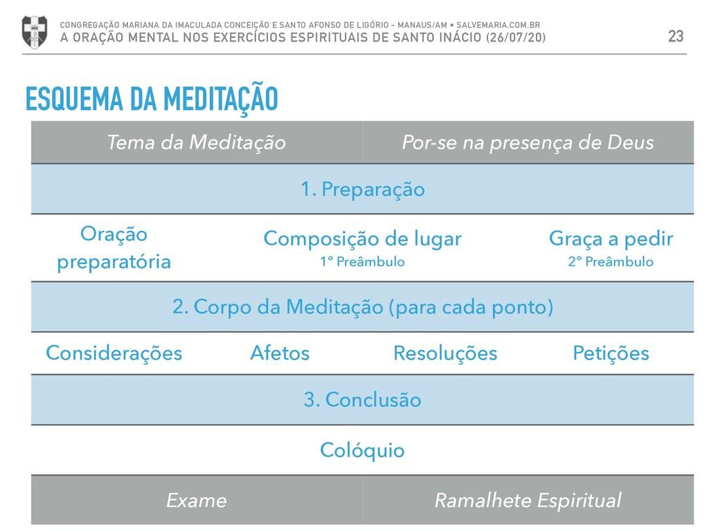 ESQUEMA DA MEDITAÇÃO 23 CONGREGAÇÃO MARIANA DA ...
