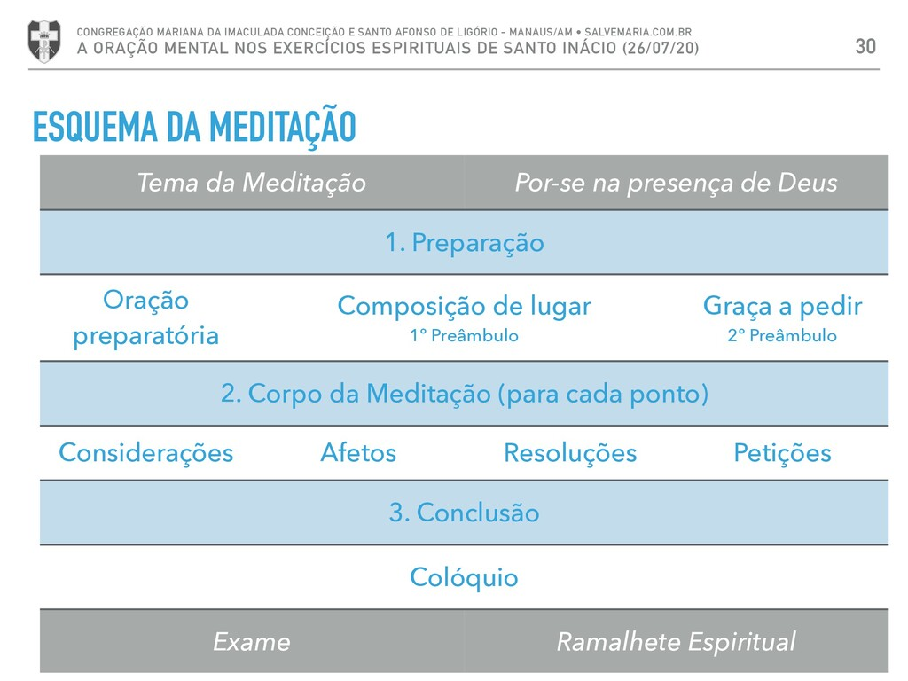 ESQUEMA DA MEDITAÇÃO 30 CONGREGAÇÃO MARIANA DA ...