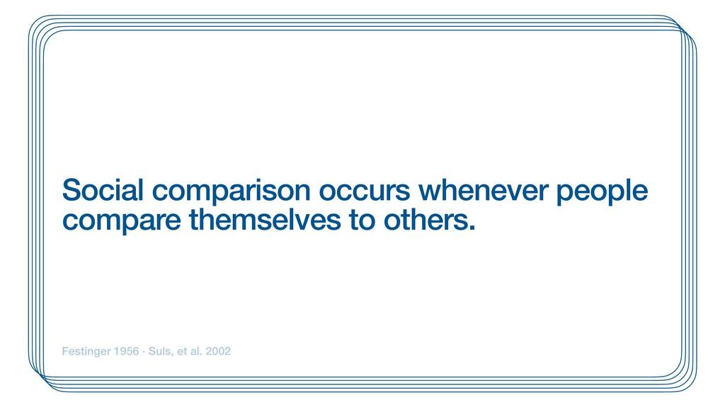 Social comparison occurs whenever people compar...