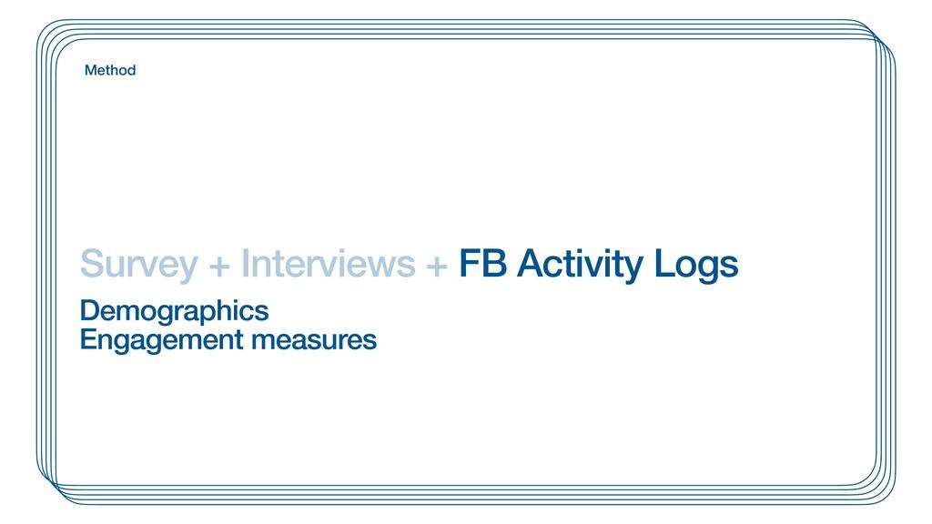 Survey + Interviews + FB Activity Logs Method D...