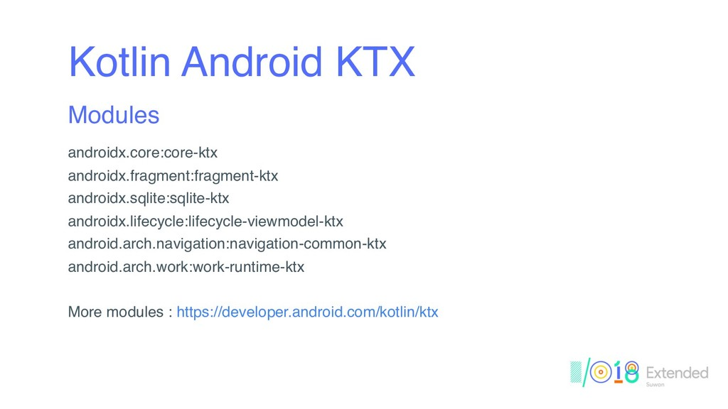 Kotlin Android KTX Modules androidx.core:core-k...