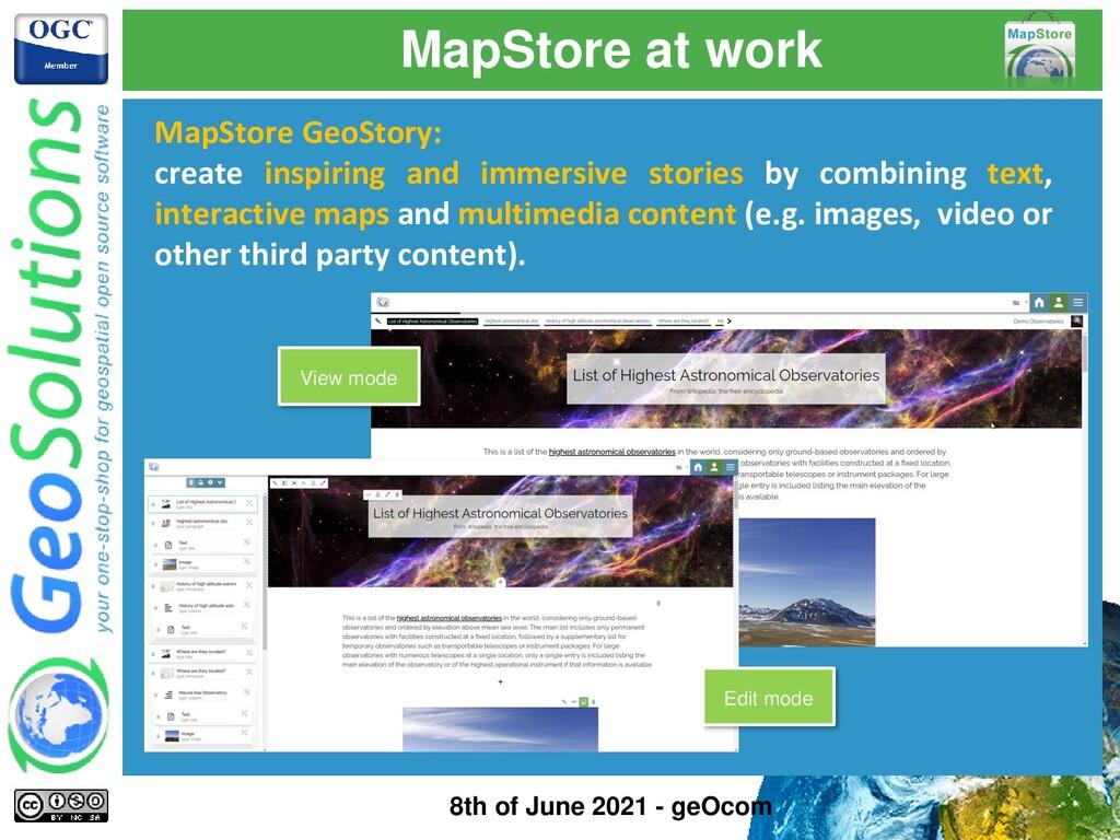 MapStore at work MapStore GeoStory: create insp...